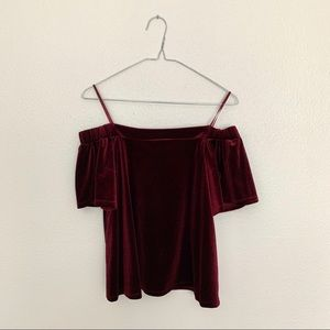 One Clothing Maroon Off The Shoulder Velvet Top